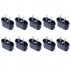 US/EU Socket to US Plug AC Power Adapter Plug - Black (10PCS, 2.5~250V)