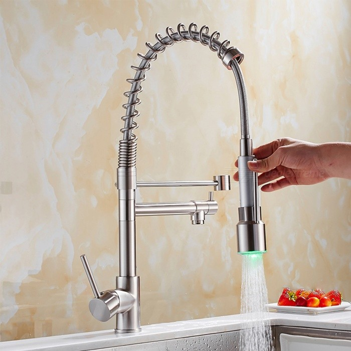 YDL-F-0530 Contemporary Nickel Brushed Finish Single Handle LED Pull-out Kitchen Faucet - SilverKitchen Faucets<br>Form  ColorAntique SilveryModelYDL-F-0530MaterialBrassQuantity1 DX.PCM.Model.AttributeModel.UnitFinishOthers,NickelValve TypeCeramicNumber of handlesSingleSpout Height22.5 DX.PCM.Model.AttributeModel.UnitSpout Length23 DX.PCM.Model.AttributeModel.UnitTotal Height56 DX.PCM.Model.AttributeModel.UnitOther FeaturesInstallation Type: Deck Mounted. <br>Feature: Pullout Spray, LED. <br>Installation Holes: One Hole. <br>Number of Switches: Single Handle. <br>Pullout Direction: Down.<br>Spout Swivel: 360 degree. <br>Cold and Hot Switch: Yes. <br>LED Color: Blue, Green, Red.<br>Standard 1/2 Threads. <br>Handle Length: 11cm.Packing List1 x Faucet 2 x Stainless steel tubes (50cm)<br>