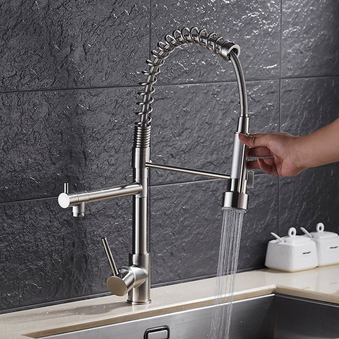 YDL-F-0528 Contemporary High-Pressure Nickel Brushed Kitchen Faucet - SilverKitchen Faucets<br>Form  ColorAntique SilveryModelYDL-F-0528MaterialBrassQuantity1 DX.PCM.Model.AttributeModel.UnitFinishOthers,NickelValve TypeCeramicNumber of handlesSingleSpout Height18.5 DX.PCM.Model.AttributeModel.UnitSpout Length21 DX.PCM.Model.AttributeModel.UnitTotal Height54 DX.PCM.Model.AttributeModel.UnitOther FeaturesInstallation Type: Deck Mounted. <br>Feature: Pullout Spray. <br>Installation Holes: One Hole. <br>Number of Switches: Single Handle. <br>Pullout Direction: Down.<br>Spout Swivel: 360 degree. <br>Cold and Hot Switch: Yes - Standard 1/2 Threads. <br>Handle Length: 11cm.Packing List1 x Faucet 2 x Stainless steel tubes (50cm)<br>