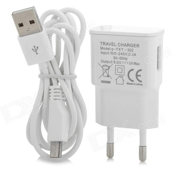 YXT-302 Convenient EU Plug Power Adapter + Cable for Samsung N7100 - White
