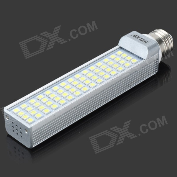 E27 12W 930LM 6000K 60-5050 SMD LED White Light Bulb - White + Silver (AC 85-265V)