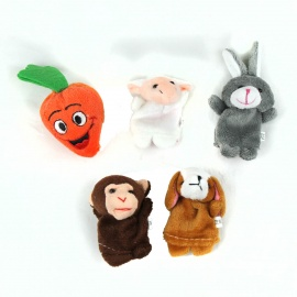 PUMAN Cute Puzzle Boy Doll Finger Monkey + Rabbit + Sheep + Dog + Carrot Set - Multicolored