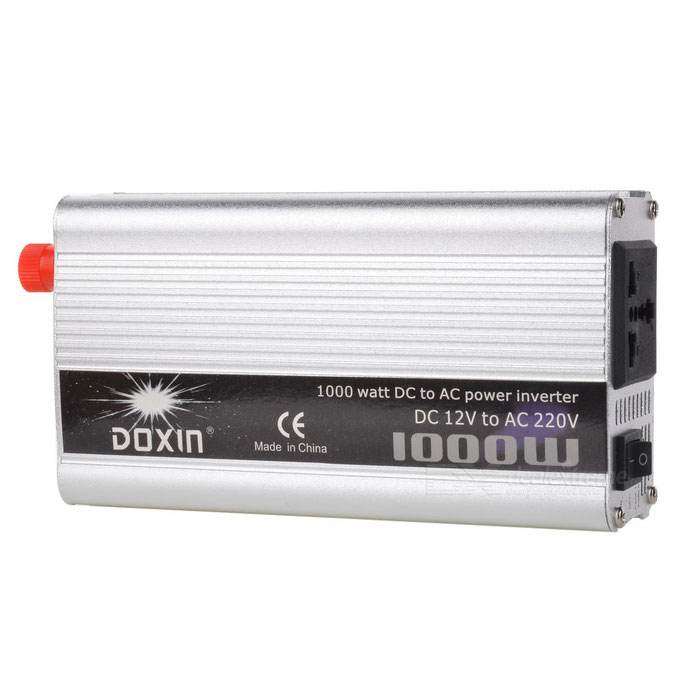Buy 1000W Car DC 12V to AC 220V Power Inverter - Red + Silver + Black with Litecoins with Free Shipping on Gipsybee.com
