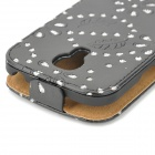 a-335 Protective Crystal Leaf  PU Leather Top Flip Open Case for Samsung Galaxy S4 Mini - Black