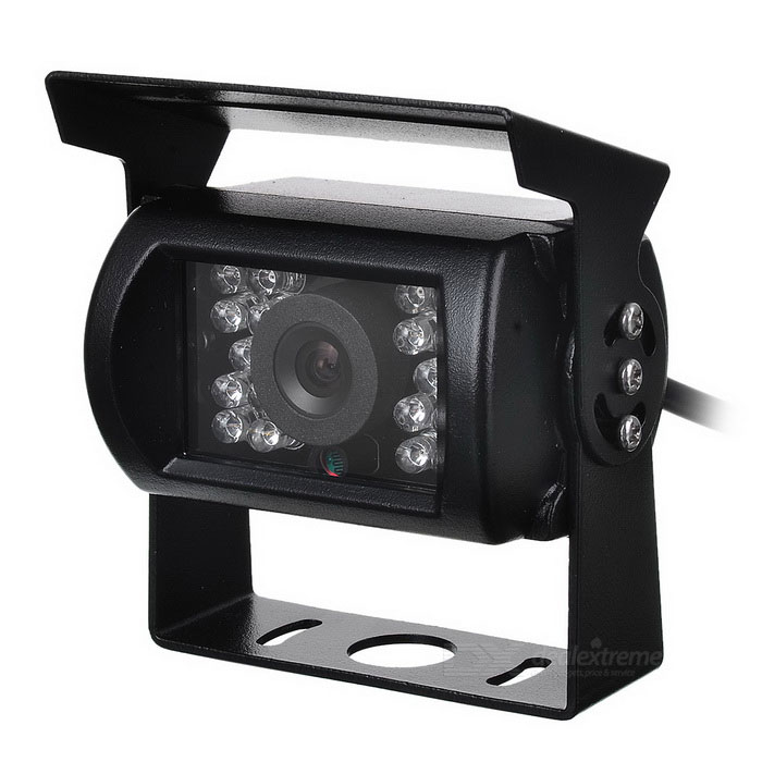 CAM-109 Universal Waterproof Wired CMOS Car Rearview Camera w/ 18-IR LED Night Vision - Black