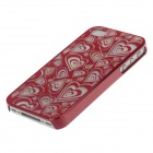 Laser Etching Series Heart Pattern Protective Plastic Back Case for Iphone 4 / 4s - Red