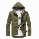 Casual Men's Hooded Cotton Wild Jacket - Army Green (Size-L)