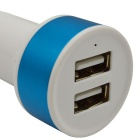 2-USB Car Cigarette Lighter Power Adapter - White + Blue (12~24V)