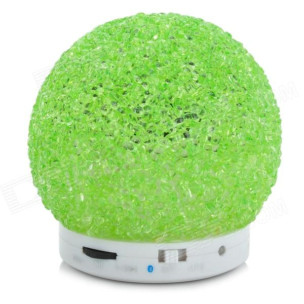 QC-001 3W Bluetooth V2.1 MP3 Speaker w/ TF / Mini USB - White + GreenBluetooth Speakers<br>Form  ColorGreen + WhiteMaterialPlasticQuantity1 DX.PCM.Model.AttributeModel.UnitBluetooth HandsfreeYesBluetooth VersionBluetooth V2.1Operating Range10 MetersChannels1.0InterfaceOthers,TF slot / Mini USBMicrophoneYesSNR&gt;/=85dBSensitivity85~92Frequency Response150~18KHzImpedance4 DX.PCM.Model.AttributeModel.UnitApplicable ProductsIPHONE 5,IPHONE 4,IPHONE 4S,IPAD,IPHONE 5S,IPHONE 5CRadio TunerNoSupports Card TypeMicroSD (TF)Max Extended Capacity8GBBuilt-in Battery Capacity 500 DX.PCM.Model.AttributeModel.UnitBattery TypeLi-ion batteryTalk Time2 DX.PCM.Model.AttributeModel.UnitStandby Time72 DX.PCM.Model.AttributeModel.UnitMusic Play Time2~3 HourPower SupplyDC 5V output:3.7V 1000mAOther FeaturesCan be as a external wired speaker or Bluetooth speaker; Supports hands-free speaking; Supports control by cellphone; Supports choose last, next and pause; Can watch moive or voice talking on computer w/ bluetooth adapter.Shade Of ColorGreenPacking List1 x Speaker1 x 2-in-1 audio cable (48cm)1 x English user manual<br>