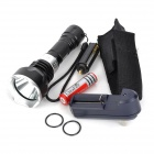 RS RS-919 LED 500lm 5-Mode White Diving Flashlight - Black + Silver (1 x 18650 / 3 x AAA)