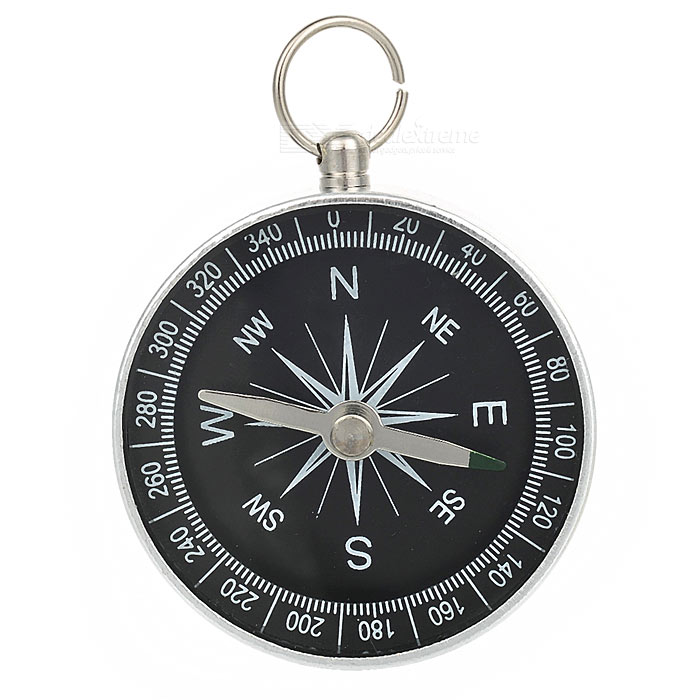 Handy Metal Compass Keychain - Black + Silver