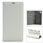 Stylish Flip-Open Leather Case w/ Card Slots for Sony Xperia Z1 / L39H - White