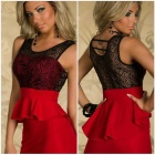 LC2914-3 Terrific Paisley Lace Peplum Dress - Red (M)