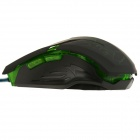 Rhorse 800/1600/2400/3200dpi Colorful Glare USB Engines Gaming Mouse - Green