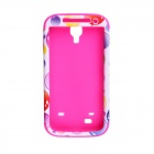 CM01 Bubble Pattern Protective Silicone Case for Samsung Galaxy S4 i9500 - White + Deep Pink