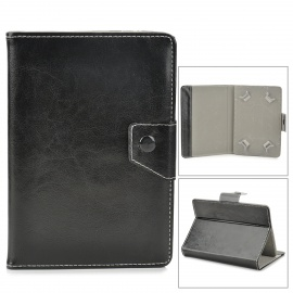 """Protective PU Leather Case w/ Stand for 7"""" Tablet PC - Black"""