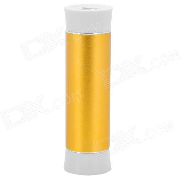 "Cylinder Shaped ""5000mAh"" Mobile Power Bank for Iphone Ipad Ipod - Golden + White"