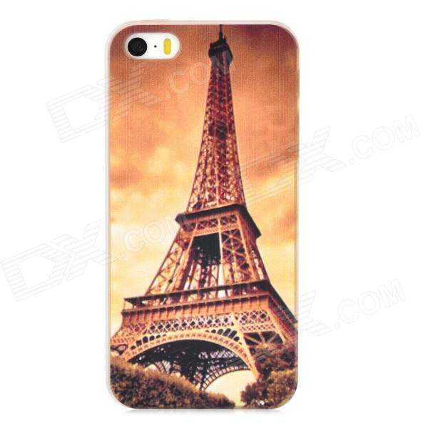 Relief Eiffel Tower Colored Drawing Style Protective PC Back Case for Iphone 5 / 5s - Brown