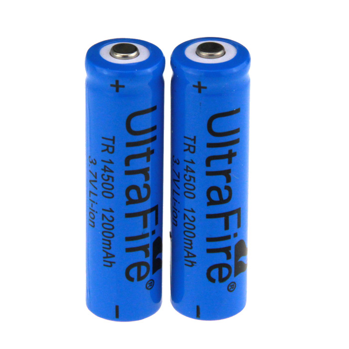 "UltraFire 14500 ""1200mAh"" 3.7V Rechargeable Li-ion Battery-Blue(2PCS)"