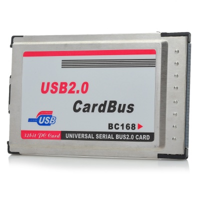 2-Port USB 2.0 PCMCIA Cardbus Port Expansion Card for Laptops