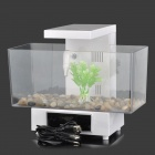 KW-2013D Fashion 1.8W USB 13-White LED + 2-Colorful LED Fish Tank Set - White + Translucent