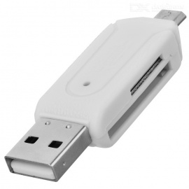 USB 2.0 to Micro USB OTG SD / TF Memory Card Reader - White (32GB)
