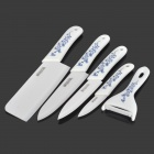 "Bestlead 6-in-1 Kitchen 3"" 4"" 5"" 6"" Zirconia Ceramic Knives + Peeler + Holder - White + Deep Blue"