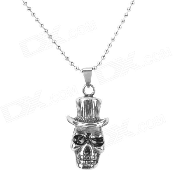 SHIYING G4DB23CDE037AB Cool Skull 316L Stainless Steel Men's Necklace - Antique Silvery