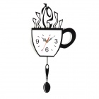 YKL005 Coffee Cup Shaped Acrylic Wall Clock - Black + White (1 x AA)