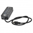 Portable Super Speed 4 ports USB 3.0 Hub w/ 1 USB Charging Port - Black