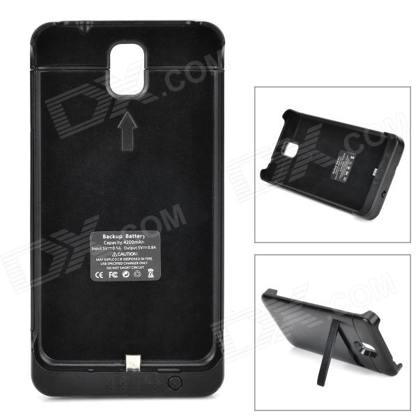 "External ""4200mAh"" Battery Back Case w/ Stand for Samsung Galaxy Note 3 - Black"