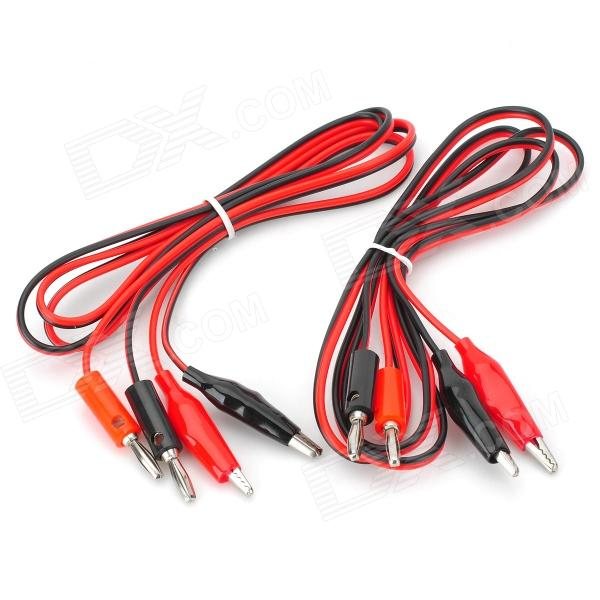 Banana Plug to Alligator Clip Test Probe Cable - Red + Black (2PCS / 1.2m)