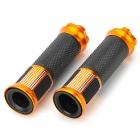 22mm Aluminum Alloy Rubber Handlebar Grip Covers for Harley Motorcycle - Golden + Black