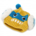 Cute Robot Style Woolen Yarn Warm Hat + Scarf for Children - Yellow + White + Multi-Colored