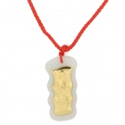 Bamboo Style Jade + Gold Pendant Necklace - White + Golden