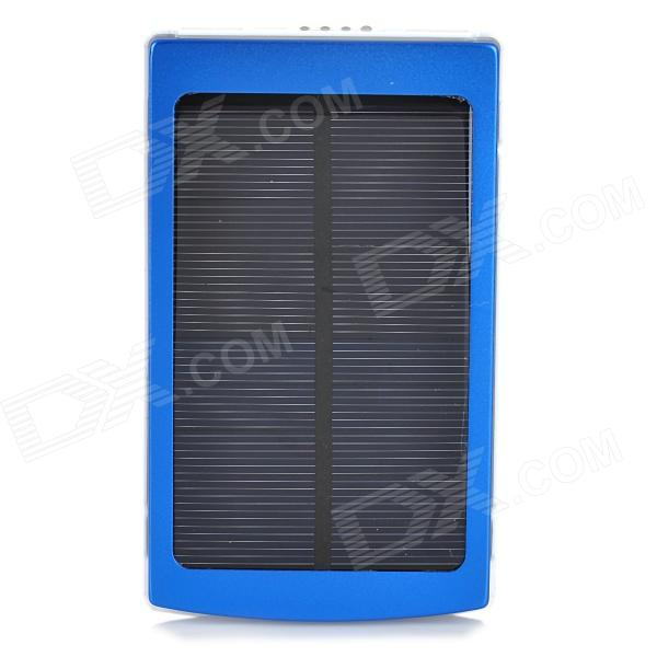 """Solar Powered """"10000mAh"""" Power Bank w/ 3 Charging Adapters for Cell Phone / Tablet PC - Blue"""