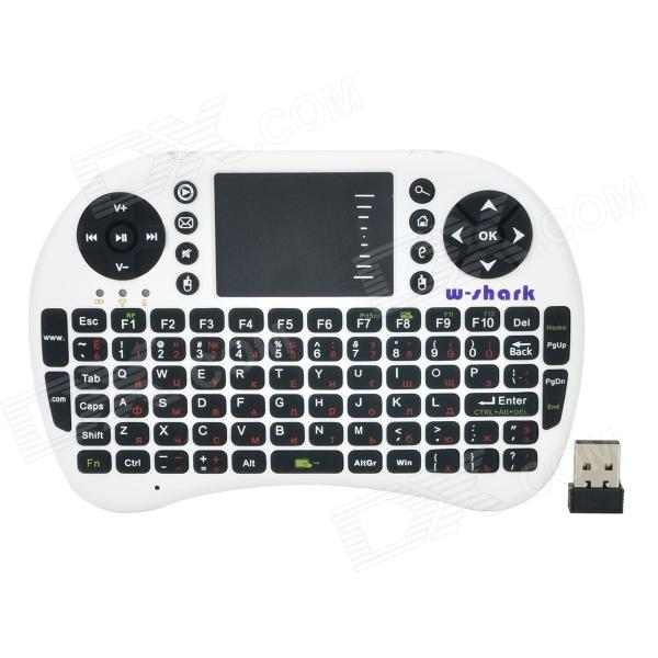 Wireless 2.4G USB 2.0 92-key Keyboard Air Fly Mouse - White + Black