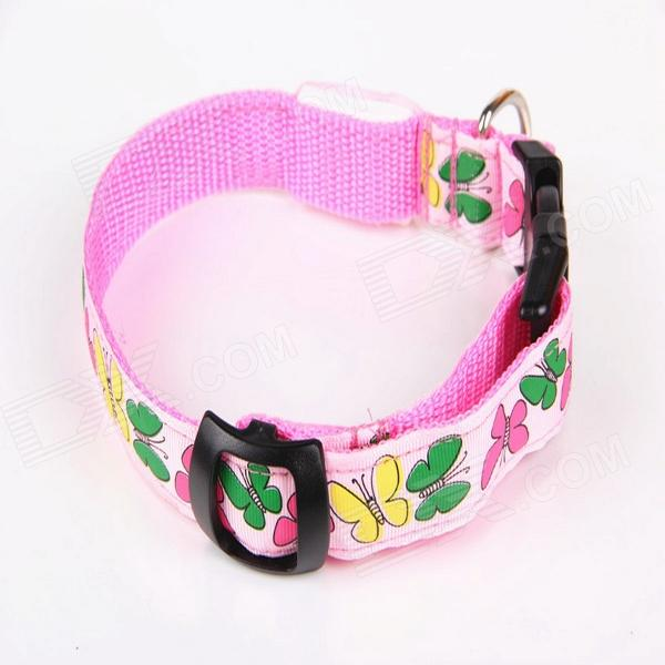New Style Butterfly Adjustable Reflective LED Strip Pet Safety Collar - Pink (M)