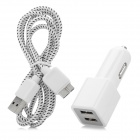 YI-YI Dual USB Car Charger + USB 3.0 Charging/Data Cable for Samsung Galaxy Note 3 (100cm / 12~24V)