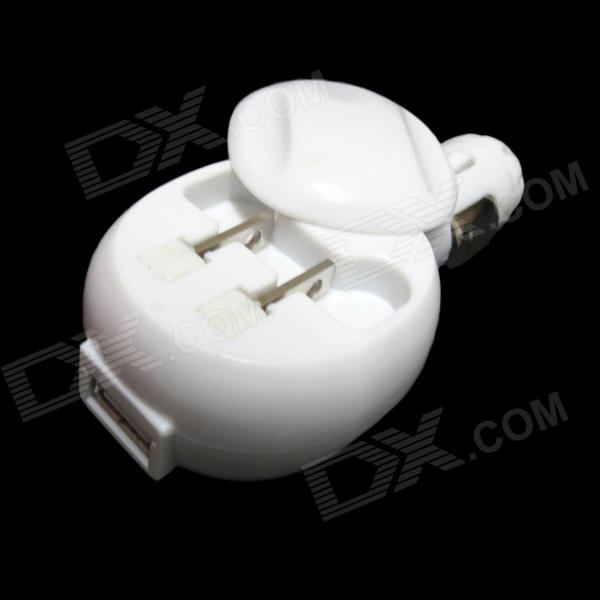 2-in-1 Car Cigarette Lighter Charger + US Plugs Charger Adapter w/ USB - White (12~24V / 100~240V)