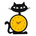 YKL004 Cute Cat Style Analog Wall Clock - Black + Yellow (1 x AA)