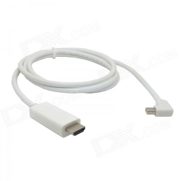 CY DP-082-LE 1080p Left Angled 90 Degree Mini DisplayPort to HDMI Cable for HDTV - White (150cm)
