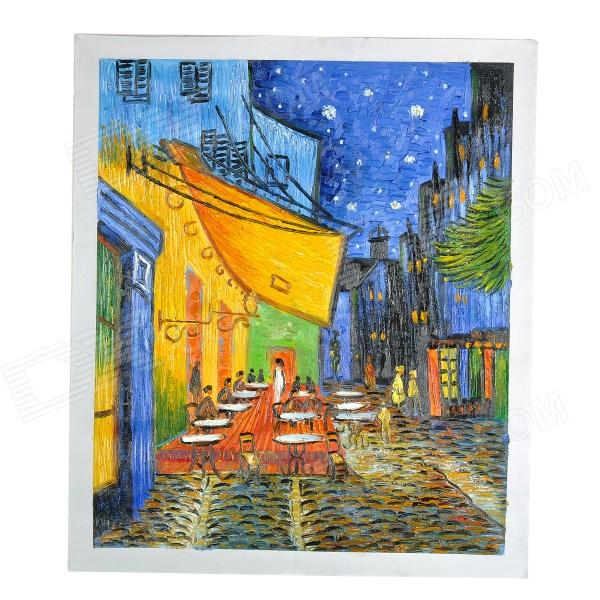 "Hand Painted Famous Oil Painting ""Cafe Terrace at Night"" of Vincent Van Gogh - Multicolored"