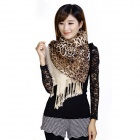 NULENTTI SY-0011 Stylish Leopard Pattern Double Layer Warm Scarf Muffler - Black + Brown