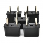6A 1500W UE Plug Power Adapters - Noir + argent (5 PCS / 125 ~ 250V)