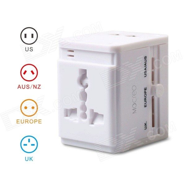 All in One Universal Travel Power Adapter Converter for AU/UK/US/EU Plug w/ Dual USB Charger - WhitePlugs &amp; Sockets<br>Form  ColorWhiteQuantity1 DX.PCM.Model.AttributeModel.UnitMaterialABSFireproof MaterialYesTarget Country &amp; RegionCovers more than 150 countries with US / EU / UK / AU plug.Rate Voltage1. AC power: AC 100~240V, 2. USB power: 5VRated CurrentAC power: Max. 6 / USB power: Max. 2.1 DX.PCM.Model.AttributeModel.UnitRated PowerMax. 660 (at 110V), max. 1380 (at 230V) DX.PCM.Model.AttributeModel.UnitCompatible Plug2-Flat-Pin Plug,US Plug,EU Plug (2-Round-Pin Plug),UK Plug,AU Plug,Others,USBGroundingYesWith Switch ControlNoSurge Protection FunctionYesLightning Protection FunctionNoWith FuseOthers,Built-inPower AdapterUS Plug,EU Plug,UK Plug,AU PlugPacking List1 x Universal Travel Power Adapter1 x English User Manual<br>