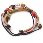 UBE UTY 2053 Fashionable Adjustable Leather + Bead Bracelet - Red + Pink + Multi-Colored
