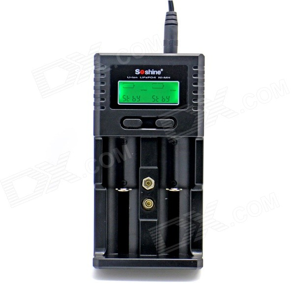 Soshine 1.5 LCD Charger for Li-ion/LiFePO4 26650 18650 Ni-MH C AA AAAChargers<br>Form  ColorBlackPower AdapterEU PlugBrandSoshineModelH2Quantity1 DX.PCM.Model.AttributeModel.UnitMaterialABS + PCCharging Cell TypeNi-MH,NiCd,Lithium Ion,Others,LiFePO4Charging Battery Type18650,AA,AAA,6F22,10440,14500,17670,26650,Others,16340Rechargeable Battery Qty2Target Country &amp; RegionEuropeBuilt-in Protected CircuitYesInput VoltageAC 100~240 DX.PCM.Model.AttributeModel.UnitOutput Voltage4.2 / 1.45 / 3.6 / 8.4 / 10.5 DX.PCM.Model.AttributeModel.UnitMax. Output Current2 DX.PCM.Model.AttributeModel.UnitFast Charging FunctionYesLCD ScreenYesAuto Circuit DetectionYesIndicatorLCD indicateOver Voltage ProtectionYesShort-Circuit ProtectionYesOver-Charging ProtectionYesOver-Discharging ProtectionNoOther Features1.5 LCD screen, battery charger input: 12V 1000mA / 5V 1000~2000mA / 6V 10W (Photovoltaic solar panel); Output: 1000mA x 2@ Lion 3.7V Battery; 1000mA x 2@ Ni-MH 1.2V Battery; 1000mA x 2@ LiFePO4 3.2V; 450mA @ Li-ion 9V / 6F22; 300mA @ Ni-MH 9V / 6F22 Battery Charger mode: CC / CV (Li-ion Battery / LiFePO4 Battery) / DELTA V (Ni-MH Battery); Car charger: 12V~24VPacking List1 x Universal Charger 1 x Car charger (140cm-cable) 1 x AC power Adapter (EU plug / 90cm-cable) 1 x USB charging Cable (60cm)<br>