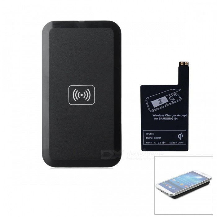 Qi Standard Wireless Transmitter Charger + Receiver Module for Samsung Galaxy S4 i9500 - Black