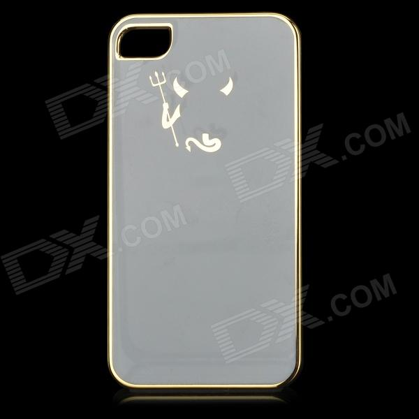 Hell Russian Pattern Protective ABS Back Case for IPHONE 4 / 4S - White + Silver